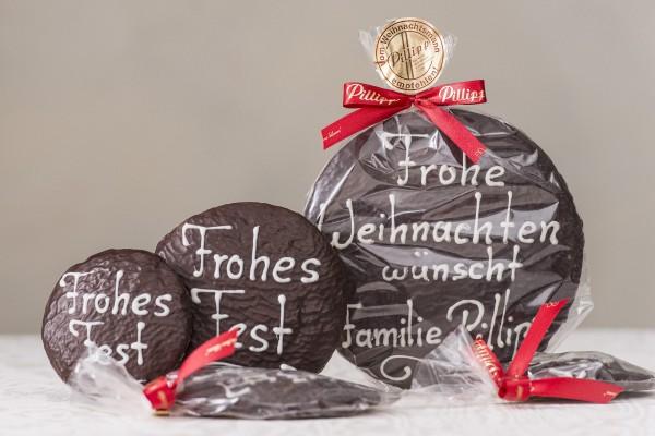 """Elisen-Lebkuchen mit Aufschrift """"Frohes Fest"""" (10cm)"""