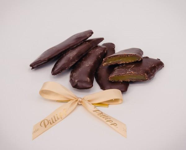 Mangostreifen in Zartbitterschokolade