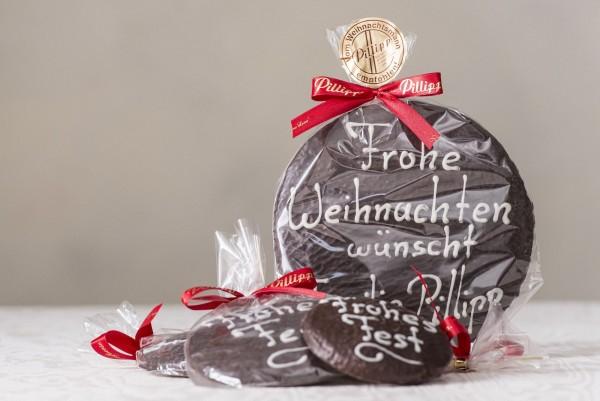 """Großer Elisen-Lebkuchen mit Schrift """"Frohe Weihnachten"""" (18 cm)"""